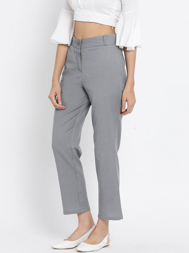 Grey Solid High-Rise Regular Trousers