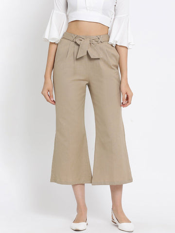 Beige Solid High-Rise Culottes