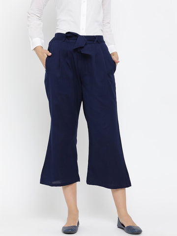 Navy Blue Solid High-Rise Culottes