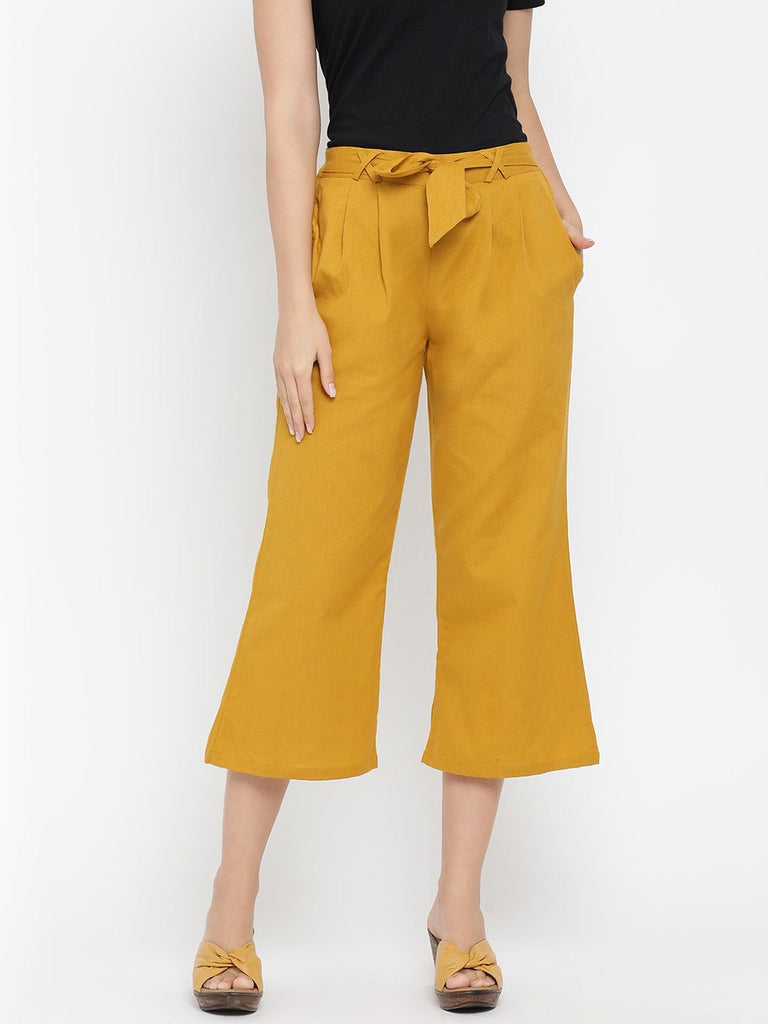 Mustard Solid High-Rise Culottes