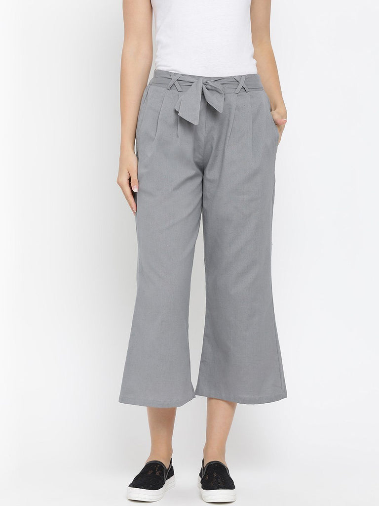 Grey Solid High-Rise Culottes