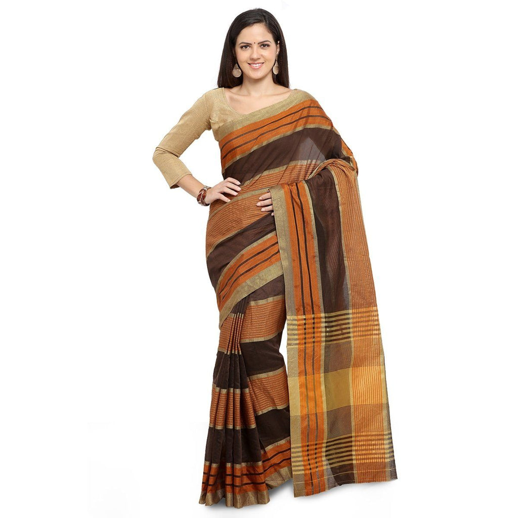 Brown Casual wear Sarees