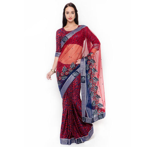 Triveni Net Red Festival Wear Embroidered Traditional Sarees