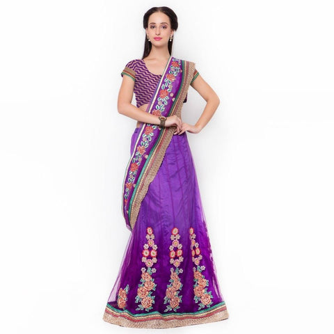 Triveni Net Purple Wedding Embroidered Traditional Lehenga Saree