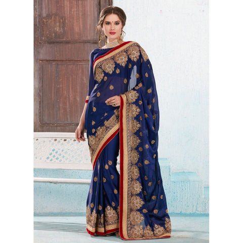 Triveni Satin Blue Festival Wear Embroidered Traditional Sarees