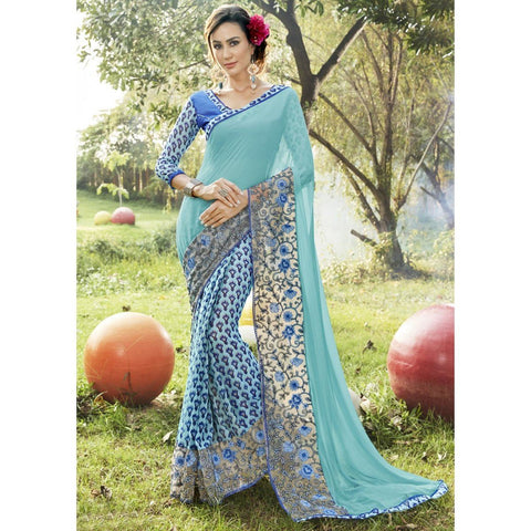 Triveni Faux Georgette Blue Casual wear Printed Traditional Sarees