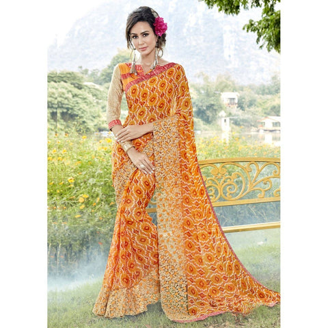 Triveni Faux Georgette Yellow Casual wear Printed Traditional Sarees