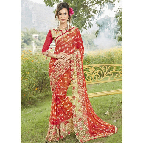 Triveni Faux Georgette Red Casual wear Printed Traditional Sarees