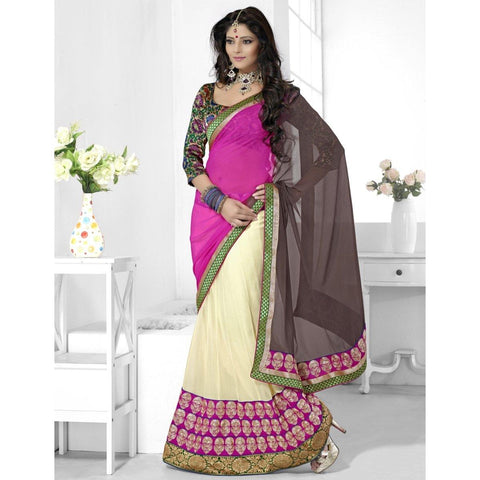 Triveni Faux Georgette Off White Wedding Border Worked Half n Half Sarees