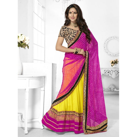 Triveni Faux Georgette Yellow Wedding Border Worked Half n Half Sarees