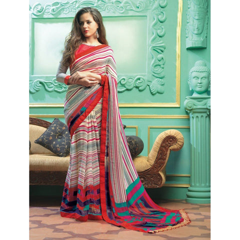 Triveni Faux Georgette Off White Casual wear Printed Stripes Sarees