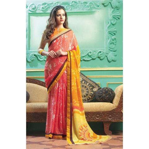 Triveni Faux Georgette Pink Casual wear Printed Traditional Sarees