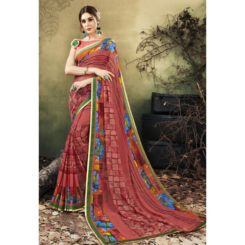 Printed Contemporary Brown Sarees