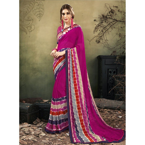 Triveni Faux Georgette Pink Casual wear Printed Contemporary Sarees