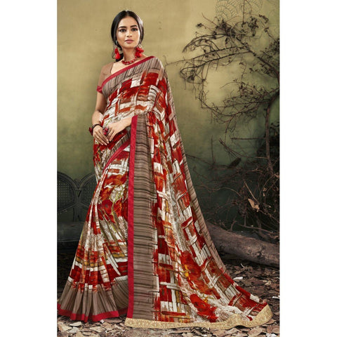 Triveni Faux Georgette Multi Color Casual wear Printed Contemporary Sarees