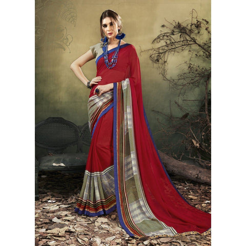 Triveni Faux Georgette Red Casual wear Printed Contemporary Sarees
