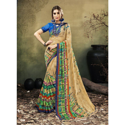 Triveni Faux Georgette Cream Casual wear Printed Contemporary Sarees