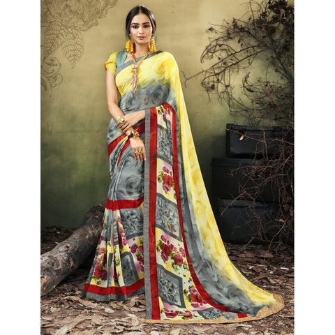 Triveni Faux Georgette Grey Casual wear Printed Contemporary Sarees
