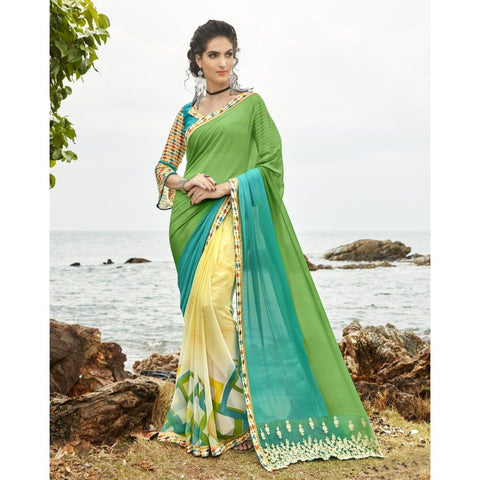Triveni Pure Georgette Multi Color Festival Wear Printed Floral Sarees