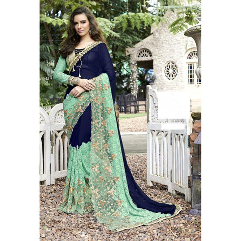 Triveni Faux Georgette Blue Festival Wear Lace Traditional Sarees