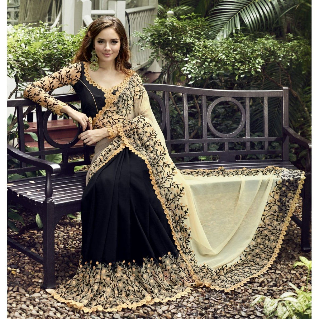 Black Embroidered Chiffon Sarees