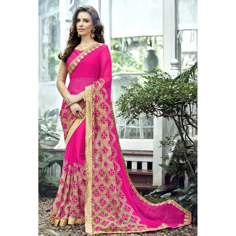 Triveni Jute Silk Pink Party Wear Border Worked Traditional Sarees