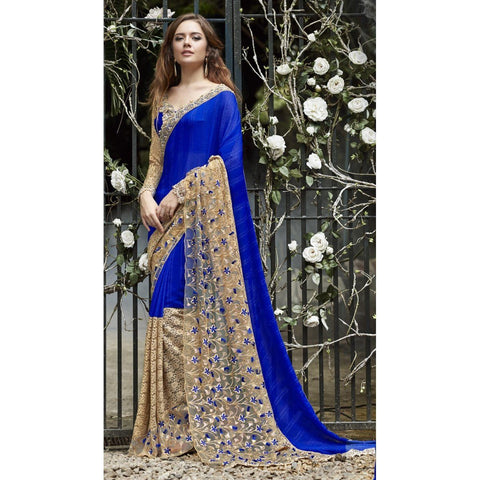 Triveni Faux Georgette Blue Festival Wear Embroidered Traditional Sarees