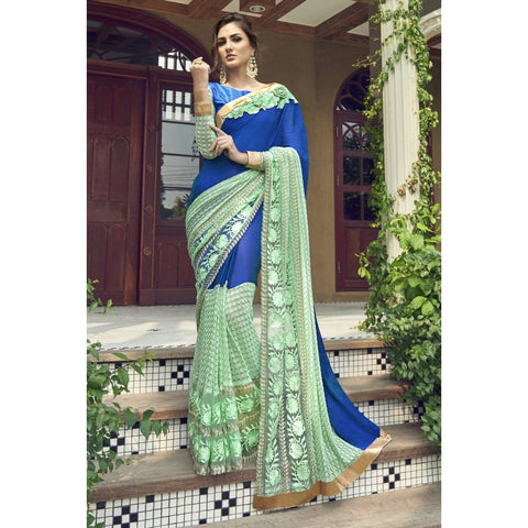 Triveni Faux Georgette Blue Party Wear Embroidered Half n Half Sarees