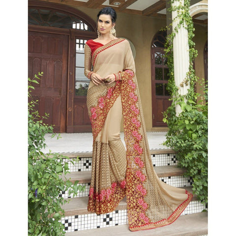 Beige Chiffon Embroidered Sarees