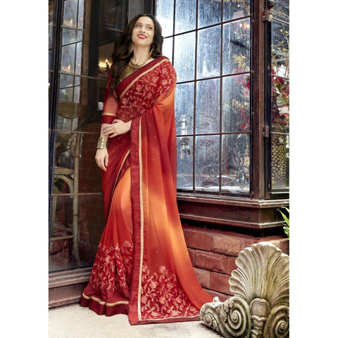 Triveni Faux Georgette Maroon Festival Wear Embroidered Traditional Sarees