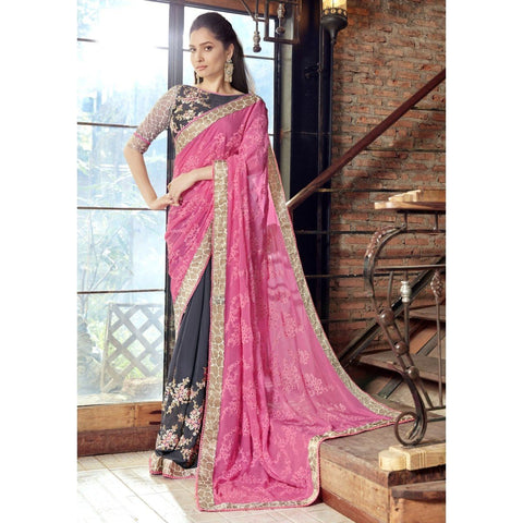Triveni Faux Georgette Grey Festival Wear Embroidered Half n Half Sarees