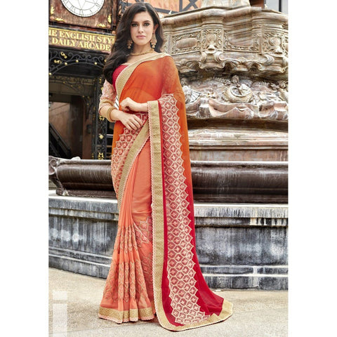 Triveni Faux Georgette Orange Wedding Embroidered Traditional Sarees