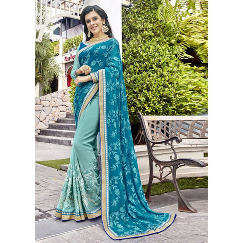 Triveni Faux Georgette Blue Wedding Embroidered Half n Half Sarees