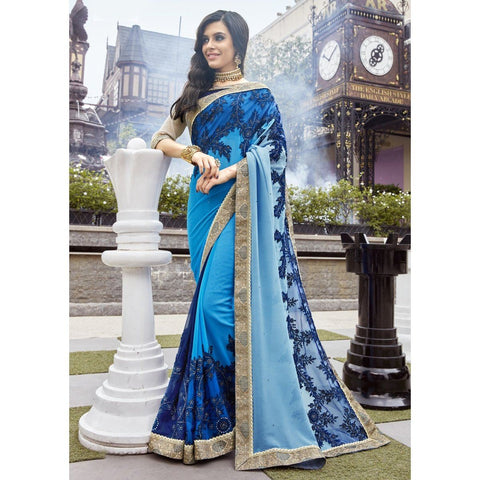 Triveni Faux Georgette Blue Wedding Embroidered Traditional Sarees