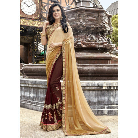 Brown Georgette Embroidered Sarees
