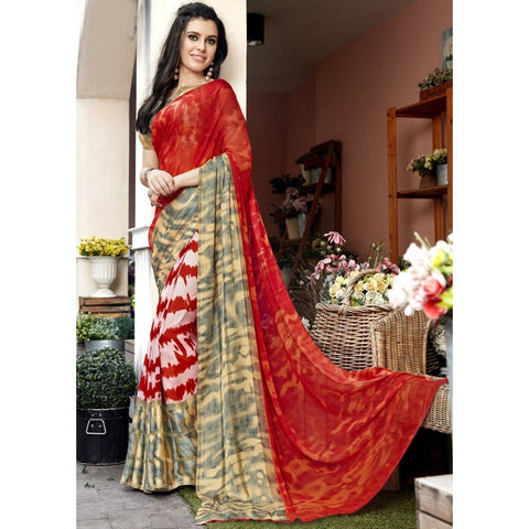 Triveni Faux Georgette Orange Casual wear Printed Traditional Sarees