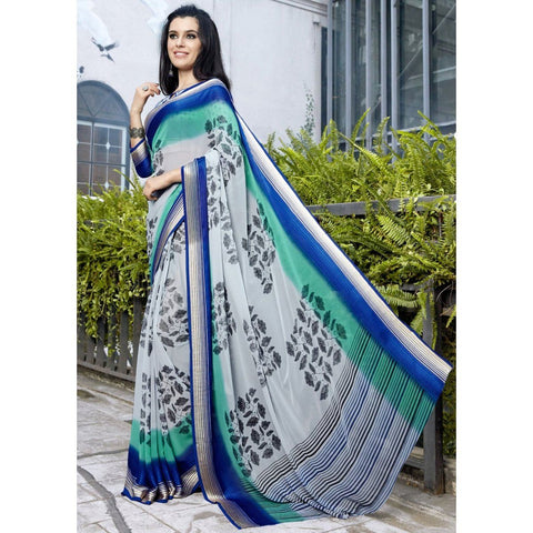 Triveni Faux Georgette Grey Casual wear Printed Traditional Sarees