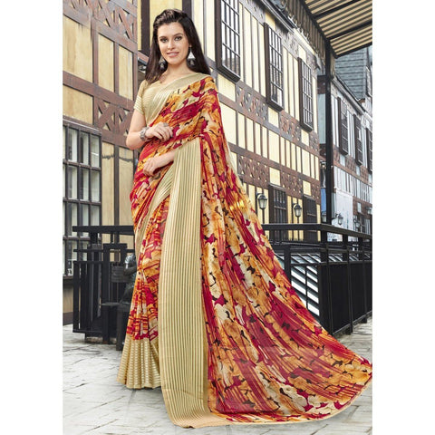 Triveni Faux Georgette Multi Color Casual wear Printed Traditional Sarees