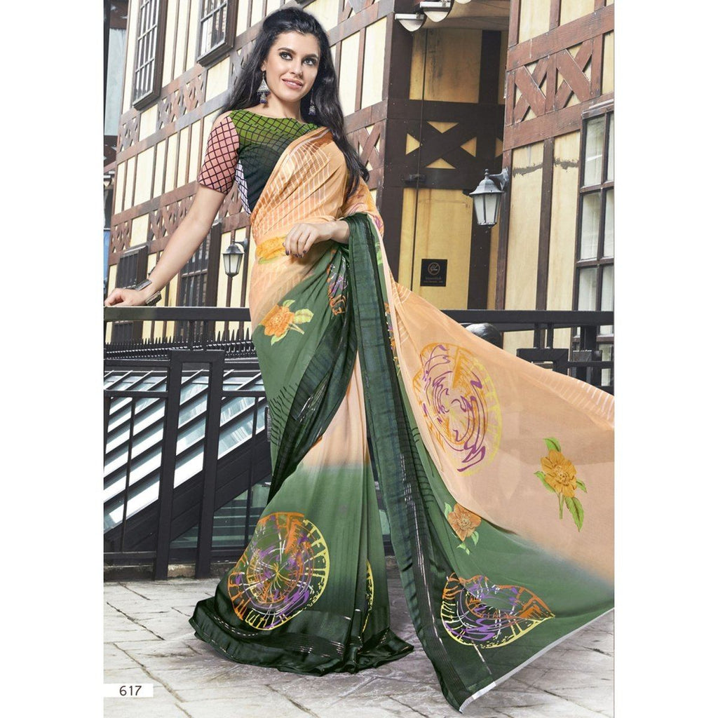 Beige Printed Traditional Sarees