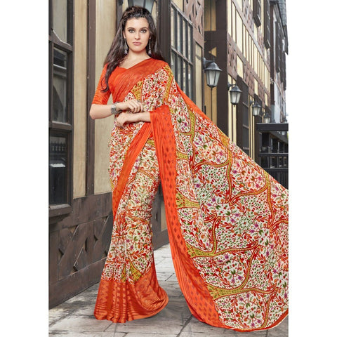 Triveni Faux Georgette Orange Casual wear Printed Floral Sarees