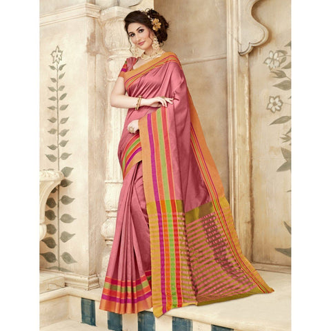 Triveni Silk Pink Festival Wear Woven Traditional Sarees