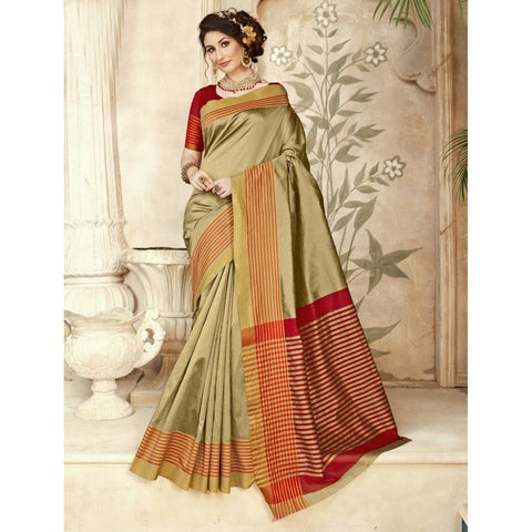 Triveni Silk Beige Festival Wear Woven Traditional Sarees