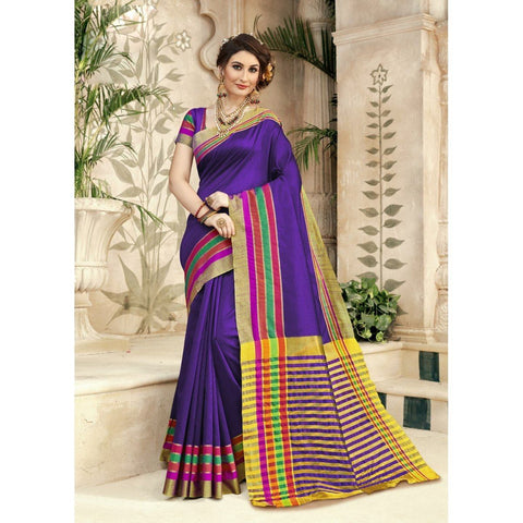 Triveni Silk Violet Festival Wear Woven Traditional Sarees
