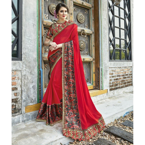 Triveni Chiffon Red Party Wear Printed Contemporary Sarees