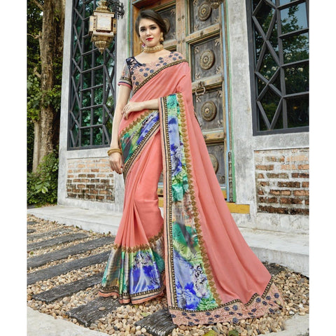 Triveni Pure Georgette Orange Party Wear Printed Contemporary Sarees