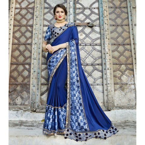 Triveni Pure Georgette Blue Party Wear Printed Contemporary Sarees