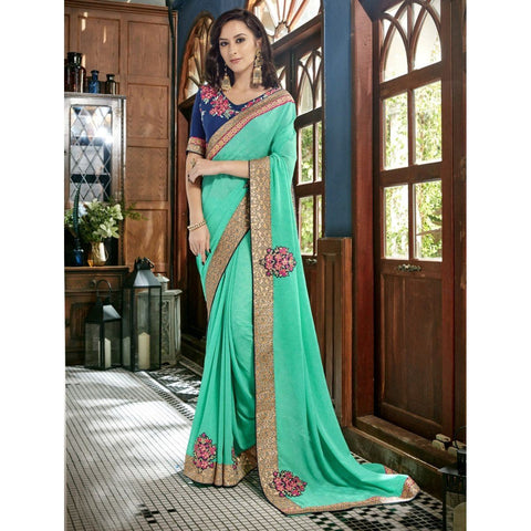 Triveni Faux Georgette Green Festival Wear Border Worked Contemporary Sarees