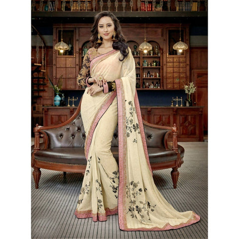 Triveni Faux Georgette Off White Festival Wear Border Worked Contemporary Sarees