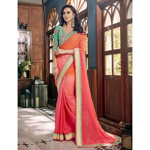 Triveni Faux Georgette Pink Festival Wear Border Worked Contemporary Sarees
