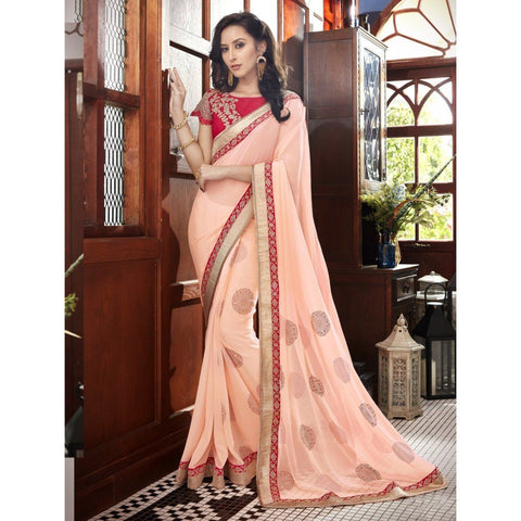 Triveni Faux Georgette Orange Festival Wear Border Worked Contemporary Sarees